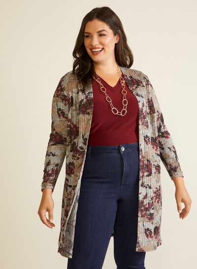 Floral Print Open Front Top