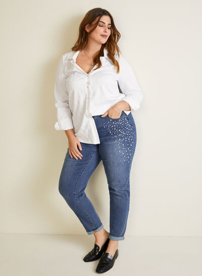 Pearl Embellished Straight Leg Jeans