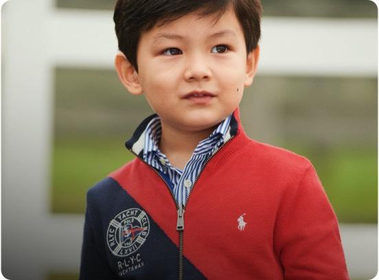 Boy in red & navy color-blocked full-zip sweatshirt